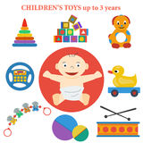 Set of  icons of childrens toys Royalty Free Stock Photo