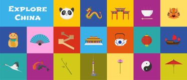 Set of icons with China landmarks in vector royalty free illustration