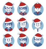 Set of icons with Christmas business characters vector illustration