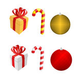 Set  icons for Christmas and new year. Gift box and Peppermint l. Ollipop stick. Ball-Christmas tree toy Royalty Free Stock Images