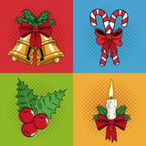 Set icons of Christmas pop art. Vector illustration graphic Royalty Free Stock Photo