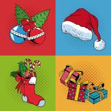 Set icons of Christmas pop art. Vector illustration graphic stock illustration