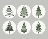 Set of icons Christmas trees with the contours of the hand Stock Photography