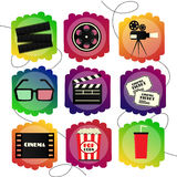 Set of icons of a cinema. Bright multicolor set sign of cinematography and films. Set of Flat icons of a cinema. Bright multicolor set sign of cinematography Stock Photos