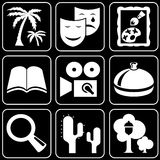 Set of icons (cinema, theater, trees) Stock Image