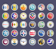 Set of icons. Cities of the USA flags. Vector vector illustration