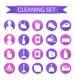 Set of icons for cleaning tools. House cleaning. Cleaning supplies. Flat design style. Cleaning design elements. Vector illustrati Stock Images