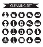 Set of icons for cleaning tools. House cleaning. Cleaning supplies. Flat design style. Cleaning design elements. Vector illustrati Stock Photos