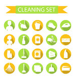 Set of icons for cleaning tools. House cleaning. Cleaning supplies. Flat design style. Cleaning design elements. Vector illustrati Stock Image