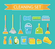 Set of icons for cleaning tools. House cleaning staff. Flat design style. Cleaning sticker. Cleaning design elements. Vector illus Royalty Free Stock Photo