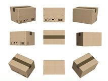 Set icons, closed cardboard boxes isolated white Royalty Free Stock Image