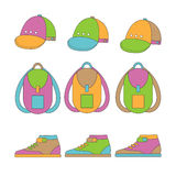 Set of icons of clothes for teenage boys. Royalty Free Stock Images