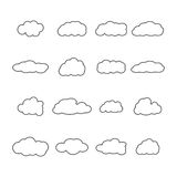 Set of icons of clouds, vector illustration. Set of sixteen icons clouds contour, different form of thin lines, vector illustration Royalty Free Stock Photo
