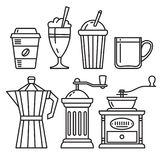 Set of icons of coffee accessories Stock Photos