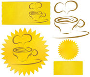 Set of icons coffee. Set of icons and logos in the form of a star, rectangle, and coffee mugs Stock Photography