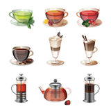 Set of icons of coffee, tea and sweets Stock Image