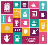 Set of icons on a coffee theme royalty free illustration