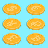 Set of icons. Of coins. Bank notes dollar, euro, pound sterling, yuan, ruble, bitcoin. Symbols of currencies in isometric, 3D style. Vector illustration Royalty Free Stock Photos