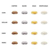 Set icons of coins from different metals. Dollar, the euro and the ruble of gold, silver, copper and white gold. Stock Images
