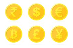 Set of icons of coins on the isolated white background. Bank notes of dollar, euro, pound sterling, yuan, rupee, bitcoin.  Royalty Free Stock Image