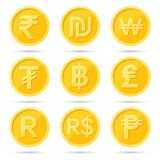 A set of icons. Of coins to a stenye on the isolated white background.Signs rupee, baht, lira, shekel, dollar, tugrik, peso, rand,won.Symbols of currencies of Royalty Free Stock Photo