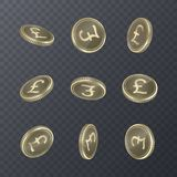 Set of icons coins on transparent background. Banknotes of pounds in isometric 3D style. Vector illustration. Set of icons coins on transparent background Stock Photography