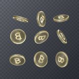 Set of icons coins on transparent background. Bitcoin sign in isometric 3D style. Vector eps 10 illustration. Set of icons coins on transparent background Royalty Free Stock Photo