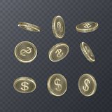 Set of icons coins on transparent background. Dollar sign in isometric 3D style. Vector illustration. Set of icons coins on transparent background. Dollar sign Stock Image