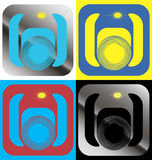 A set of icons with a color camera Stock Photos