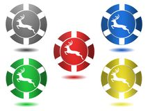 Set of icons in color, deer, illustration Royalty Free Stock Photos