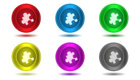 Set of icons in color,illustration,puzzle Stock Image