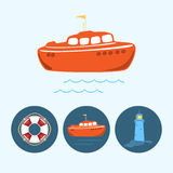 Set icons with   colored boat, life buoy , lighthouse, vector illustration Stock Image