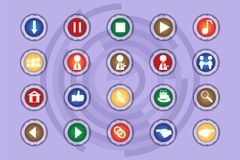 A set of icons on colored buttons with transparent elements. Part 10. Buttons Stock Photo