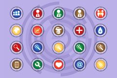 A set of icons on colored buttons with transparent elements. Part 6. 
