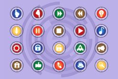 A set of icons on colored buttons with transparent elements. Part 8. Buttons Royalty Free Stock Photography