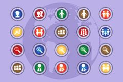 A set of icons on colored buttons with transparent elements. Part 11. Set of flat icons in retro style  on colored buttons with transparent elements Stock Image