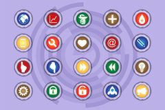 A set of icons on colored buttons with transparent elements. Part 7. N buttons Stock Image