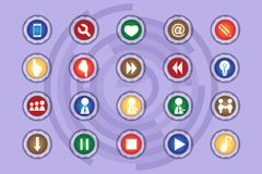 A set of icons on colored buttons with transparent elements. Part 9. Buttons Stock Photos