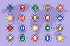 A set of icons on colored buttons with transparent elements. Part 3. Styles Royalty Free Stock Photo