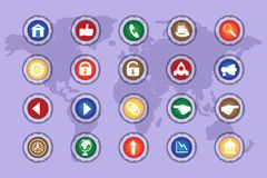 A set of icons on colored buttons with transparent elements. Part 4. Styles Royalty Free Stock Photo