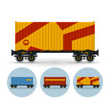 Set of icons colored  the containers on a railway Royalty Free Stock Images