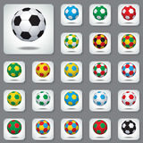 Set Icons the Colored Footballs. With Color Flags, Participating Countries  in Football World Cup in Brazil 2014 Royalty Free Stock Images