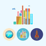 Set icons with   colored wall clock, modern buildings ,rocket, vector illustration Stock Photography