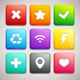 Set of Icons on colorful backgrounds Royalty Free Stock Photography