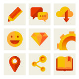 Set of icons of communication and technology. Red and yellow colors Stock Image