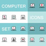 Set of icons for computer electronics business. Set of 15 web icons for laptop computer electronics business theme Vector illustration Royalty Free Stock Images
