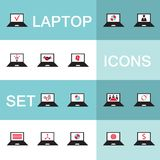 Set of icons for computer electronics business. Set of 15 web icons for laptop computer electronics business theme Vector illustration Royalty Free Stock Photo