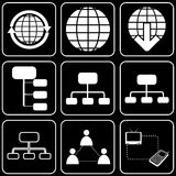 Set  icons - Computer, Web, Internet, Technology. White  icons on a black background Royalty Free Stock Photo