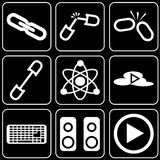 Set  icons - Computer, Web, Internet, Technology. White  icons on a black background Stock Photos