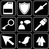 Set  icons - Computer, Web, Internet, Technology. White  icons on a black background Royalty Free Stock Image